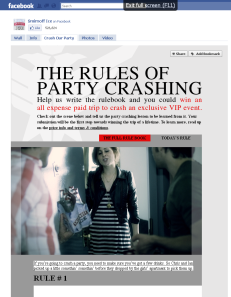 Facebook FBML Landing Page for Smirnoff Ice Party Crashing Campaign