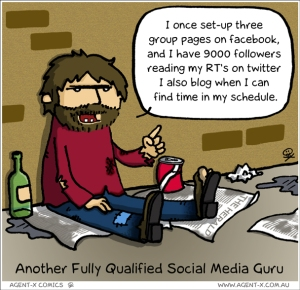 Cartoon joking about self-proclaimed Social Media Gurus who have very little actual impact